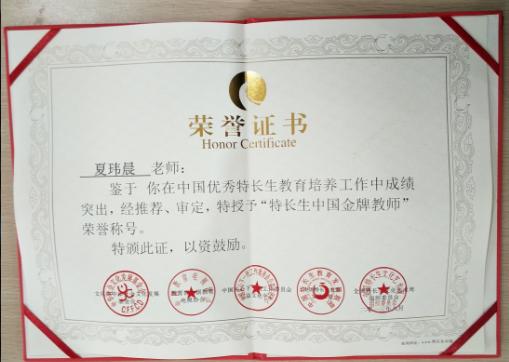 夏玮晨荣誉证书
